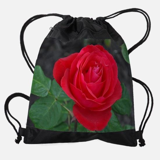 Single red rose Drawstring Bag
