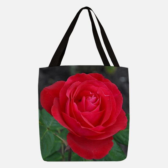 Single red rose Polyester Tote Bag