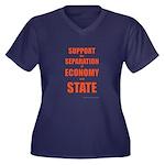 Economy Women's Plus Size V-Neck Dark T-Shirt