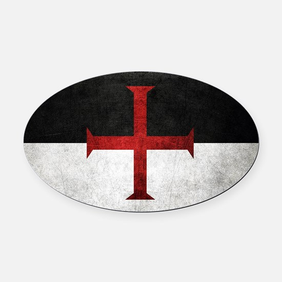 Flag of the Knights Templar Oval Car Magnet