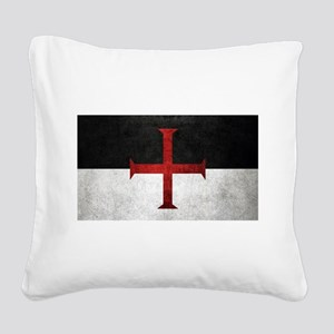 Flag of the Knights Templar Square Canvas Pillow