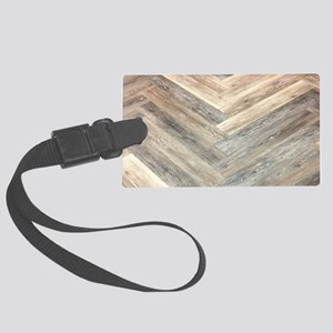 farmhouse geometric barn wood Large Luggage Tag
