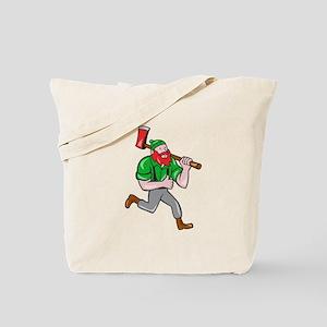 Paul Bunyan Lumberjack Axe Running Cartoon Tote Ba