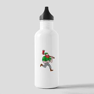 Paul Bunyan Lumberjack Axe Running Cartoon Water B