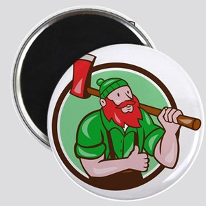 Paul Bunyan Lumberjack Axe Thumbs Up Circle Cartoo