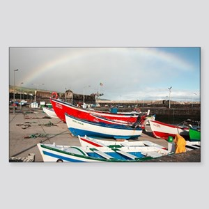 Rainbow at the harbour Sticker