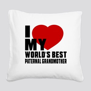 I love My World's Best Patern Square Canvas Pillow