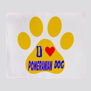 I Love Pomeranian Dog Throw Blanket