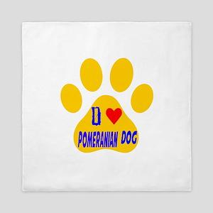 I Love Pomeranian Dog Queen Duvet