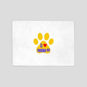 I Love Pomeranian Dog 5'x7'Area Rug