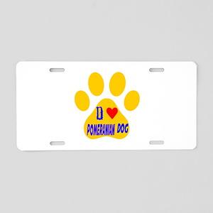 I Love Pomeranian Dog Aluminum License Plate