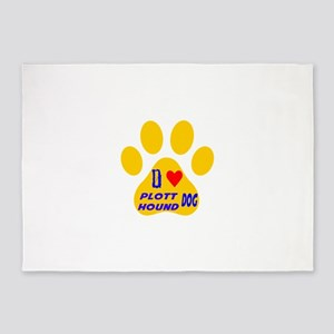 I Love Plott Hound Dog 5'x7'Area Rug