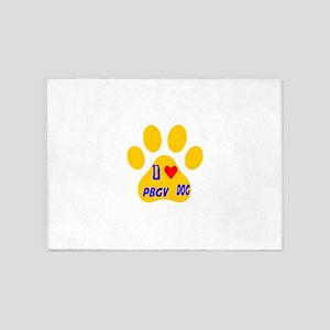 I Love PBGV Dog 5'x7'Area Rug