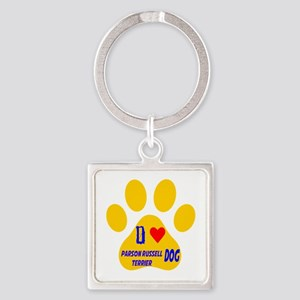 I Love Parson Russell Terrier Dog Square Keychain