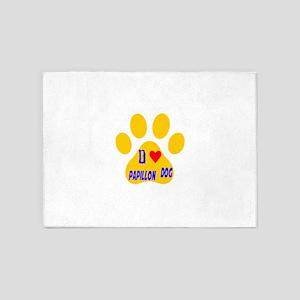 I Love Papillon Dog 5'x7'Area Rug
