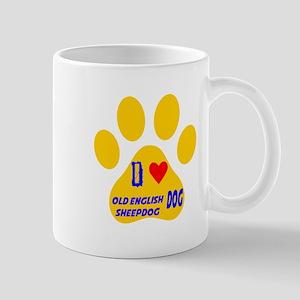 I Love Old English Sheepdog Dog Mug