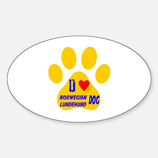 I Love Norwegian Lundehund Dog Sticker (Oval)
