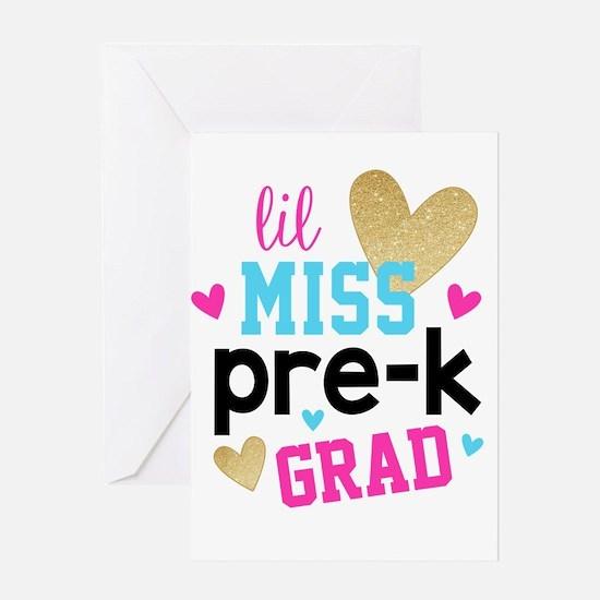 Lil Miss Pre-K Grad Greeting Cards