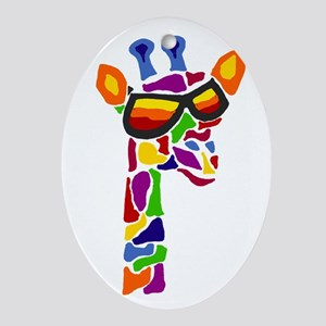 Giraffe in Sunglasses Oval Ornament