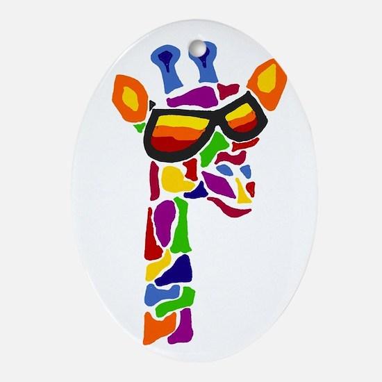 Giraffe in Sunglasses Oval Ornament