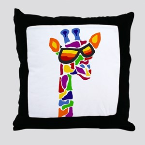 Giraffe in Sunglasses Throw Pillow