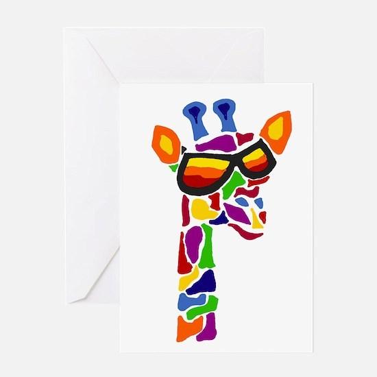 Giraffe in Sunglasses Greeting Cards