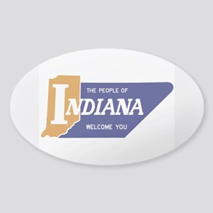"""""""The People of Indiana Welcome You"""" Sticker (Oval)"""