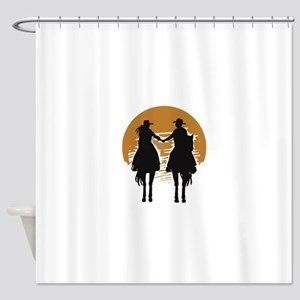 Cowboy And Cowgirl Sunset Shower Curtain