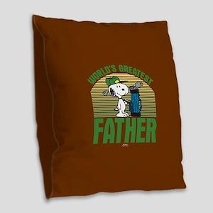 Golf Father Burlap Throw Pillow