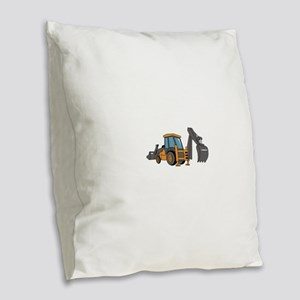 Backhoe Burlap Throw Pillow