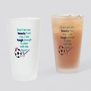 Soccer Princess Girl Drinking Glass
