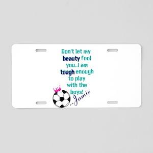 Soccer Princess Girl Aluminum License Plate