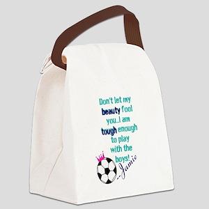 Soccer Princess Girl Canvas Lunch Bag