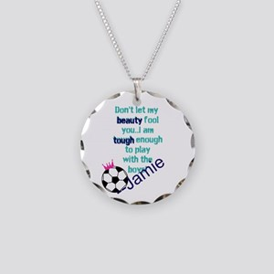 Soccer Princess Girl Necklace Circle Charm