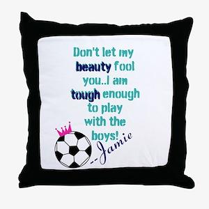 Soccer Princess Girl Throw Pillow