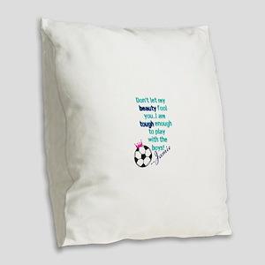 Soccer Princess Girl Burlap Throw Pillow