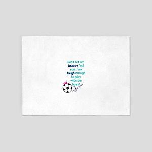 Soccer Princess Girl 5'x7'Area Rug