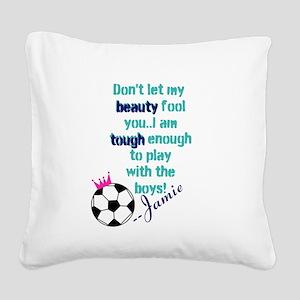 Soccer Princess Girl Square Canvas Pillow
