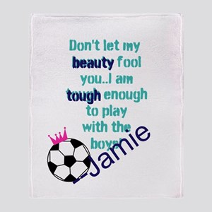Soccer Princess Girl Throw Blanket