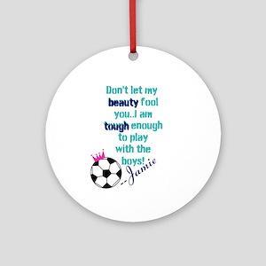 Soccer Princess Girl Round Ornament