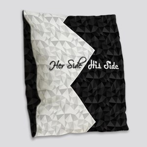 Black White Argyle His Hers Burlap Throw Pillow