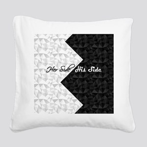 Black White Argyle His Hers Square Canvas Pillow