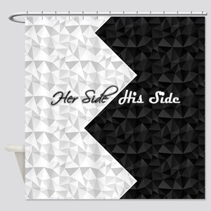 Black White Argyle His Hers Shower Curtain