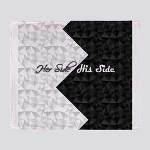 Black White Argyle His Hers Throw Blanket