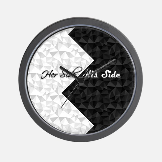 Black White Argyle His Hers Wall Clock