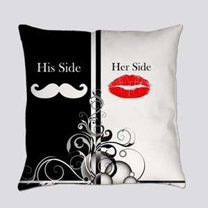 Hipster His Hers Lipstick Mustache Everyday Pillow