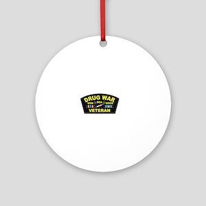Drug War Veteran Round Ornament