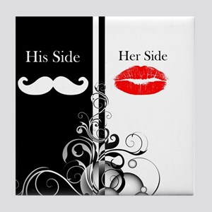 Hipster His Hers Lipstick Mustache Tile Coaster