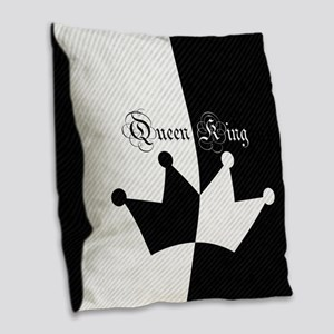 His Hers King Queen Crown Black White Burlap Throw