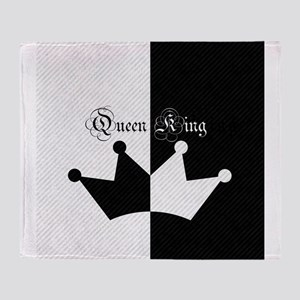 His Hers King Queen Crown Black White Throw Blanke